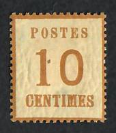 "ALSACE and LORRAINE 1870 Definitive 10c Bistre-Brown. Points of the net upwards.  Genuine copy. ""P"" of Postes 3mm + from left ed"