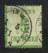 "ALSACE and LORRAINE 1870 Definitive 5c Pale Yellow-Green. Points of the net upwards.  Genuine copy. ""P"" of Postes 3mm + from lef"