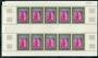 FRENCH ANDORRA 1972 Altar-Screen Church of St John. Fifth series. Set of 3 in panes of ten. - 100110