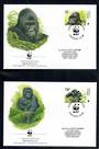 CONGO 2002 World Wildlife Fund Grauer's Gorilla. Set of 4 in mint never hinged and on first day covers with 6 pages of official