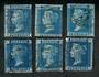 GREAT BRITAIN 1858 2d Blue. Plates 7-9 and 13-15. Six stamps. - 20027 - Used