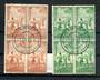 NEW ZEALAND 1940 Heath. Set of 2. in blocks of 4 with fine Remuera H class cancel. - 20118 - FU