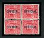 NEW ZEALAND 1909 Edward 7th Official 6d Red in block of four. Two VLHM and two UHM. - 20123 - Mixed