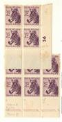SOUTH AFRICA 1954 Definitive 2d Plum. Block of 4 Plate 56. Block of 6.identified as issue 4 Cylinder 116 Pane B Vertical Rows 8