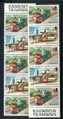 ISLE OF MAN 1988 Definitives Railways and Tramways. Strip of 5 from special booklet sheet of 50 as detailed in the note in SG. H