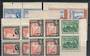 BRITISH GUIANA 1938 and 1954 Definitives. Five blocks of 4 of the low values in unhinged mint. Each stamp has been perforated fo