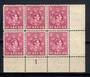 ST LUCIA 1938 Geo 6th Definitive 3/- Bright Purple. Plate Block of 6. (Plate 1). - 20921 - UHM
