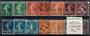 FRANCE 1907 Definitives. Set of 14. Includes shades. - 20953 - Used