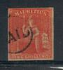 MAURITIUS 1859  1/- Vermillion. Lovely copy with PAID cancel. Four margins. A very nice example. - 21013 - FU