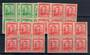 NEW ZEALAND 1938 Geo 6th Definitive Booklet panes. Two panes of the ½d Green and three panes of the 1d Red. Four of the panes ha