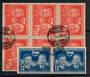EAST GERMANY 1951 German-Soviet Friendhip. Joined pair of the 12pf Blue and block of 6 of the 24pf Red. - 21158 - FU