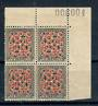 NEW ZEALAND 1935 Pictorial 9d Red and Grey. Multiple Watermark Upright. Top corner block of 4. - 21326 - UHM
