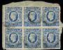 GREAT BRITAIN 1939 Geo 6th Definitive 10/- Ultramarine. Block of 6 on piece. Some imperfections. - 21458 - Used