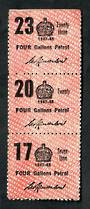 NEW ZEALAND 1947 Petrol Ration Labels. Strip of 3. - 21694 - Cinderellas
