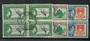 GILBERT & ELLICE ISLANDS 1939 Geo 6th Definitives ½d 1d and 5/- in blocks of 4. - 21735 - Used