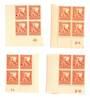 NEW ZEALAND 1935 Pictorial 2d Orange. Four Plate Blocks. 2A 2B 3A 4B. All Perf 14 x 13.5. Seem mostly the fine paper. The 2B is