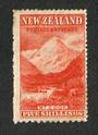 NEW ZEALAND 1898 Pictorial 5/- Deep Red. Compound Perfs. Upright Watermark. Centred east. Slight crease and soiling. Gum has sli