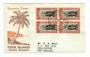 COOK ISLANDS 1946 Peace 6d + 8d in blocks on first day covers. - 32189 - FDC