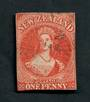 NEW ZEALAND 1855 Full Face Queen 1d Orange-Vermilion. Three clear margins touching at bottom. Excellent postmark. Crease visible
