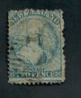 NEW ZEALAND 1862 Full Face Queen 2d Deep Blue. Perf 12½. Extensive plate wear. Light postmark over face. - 3556 - Used