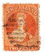 NEW ZEALAND 1862 Full Face Queen 2d Orange. Perf 12½. Postmark over face. - 3563 - Used