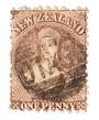 NEW ZEALAND 1862 Full Face Queen 1d Brown. Perf 10x12½. Postmark off face. - 3564 - Used