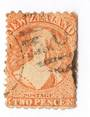 NEW ZEALAND 1862 Full Face Queen 2d Orange. Perf 10x12½. Early plate wear. Postmark over face. - 3565 - Used
