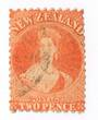 NEW ZEALAND 1862 Full Face Queen 2d Vermilion. Perf 12½. No Watermark. Postmark okay. - 3567 - Used