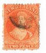 NEW ZEALAND 1862 Full Face Queen 2d Vermilion. Perf 12½. No Watermark. Postmark not so okay. - 3568 - Used