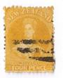 NEW ZEALAND 1862 Full Face Queen 4d Yellow. Heavy postmark but off face. - 3580 - Used