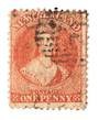 NEW ZEALAND 1862 Full Face Queen 1d Carmine-Vermilion. Definite red. Postmark over face. - 3581 - Used