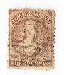 NEW ZEALAND 1862 Full Face Queen 1d Brown. Advanced plate wear. Light postmark frames face. Excellent item. - 3585 - FU