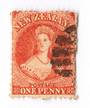 NEW ZEALAND 1862 Full Face Queen 1d Carmine-Vermilion. Nice postmark bars off face. Definite red shade. - 3586 - FU