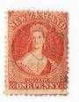 NEW ZEALAND 1862 Full Face Queen 1d Carmine-Vermilion. Nice postmark  off face. Definite red shade. - 3587 - FU