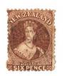 NEW ZEALAND 1862 Full Face Queen 6d Deep Red-Brown. Light postmark. - 3590 - Used