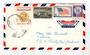 USA 1958 Airmail Letter to New Zealand with 1957 Christmas Greetings TB Cinderellas on the reverse (strip of three). - 36853 - P