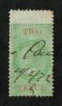 NEW ZEALAND 1867 Victoria 1st Long Type Fiscal 2d Green and Red. - 3717 - Used