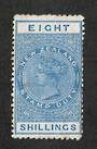 NEW ZEALAND 1882 Victoria 1st Long Type Fiscal 8/- Blue. - 3742 - MNG