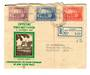 AUSTRALIA 1936 150th Anniversary of the Founding of New South Wales. Set of 3 on first day cover. Damage at top and cut down the