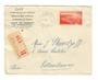 MONACO 1939 Official Registered Letter from Monaco-Ville to France. Use of SG 187 cv £30. Backstamp Lyon Gare.