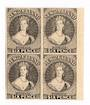 NEW ZEALAND 1855 Full Face Queen Hausberg Proofs in blocks of four. Eight blocks. - 37907 -