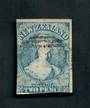 NEW ZEALAND 1855 Full Face Queen 2d Blue, worn plate. Watermark Large Star. Two clear margins. Frame lines touched on the others