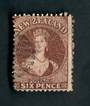 NEW ZEALAND 1862 Full Face Queen 6d Red-Brown. Very nice postmark. Slightly dull in one corner. - 39022 - Used