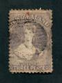 NEW ZEALAND 1862 Full Face Queen 3d Brown-Lilac. Watermark Large Star. Perf 13. Very nice copy with light postmark. But thinned.