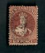 NEW ZEALAND Postmark Numeral 23 on Full Face Queen 6d Brown. Perf 12½. Watermark Large Star. Very light postmerk 023 does cover