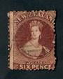 NEW ZEALAND 1855 Full Face Queen 2d Blue. Imperf. Watermark Large Star. Three good margins. The fourth cut into. Light postmark