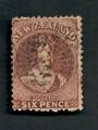 NEW ZEALAND 1862 Full Face Queen 6d Brown. Perf 12½. Watermark Large Star. Postmark light but interferes with the face. Small th