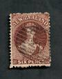 NEW ZEALAND 1862 Full Face Queen 6d Deep Red-Brown. Perf 12½. Watermark Large Star. Postmark covers the face but still an attrac
