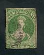 NEW ZEALAND 1855 Full Face Queen 1/- Yellow-Green. Watermark Large Star. Clear margins all round except just touching under the