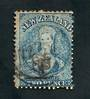 NEW ZEALAND 1862 Full Face Queen 2d Blue. Perf 13 Watermark Large Star. Advanced plate wear. Postmark just touching the face. Li